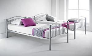 Happy Beds Capri Silver Finished Quality Metal Bunk Bed With 2x Memory Foam Mattress