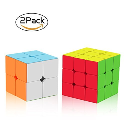 Roxenda Zauberwürfel Set, Zauberwürfeln-Serie 2x2x2 3x3x3 Stackerless Speed Cube, Bereifte Oberfläche Würfel-Puzzle -