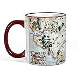 El señor de los anillos - taza con el mapa de la Tierra Media - trilogía El hobbit - 300 ml - cerámica