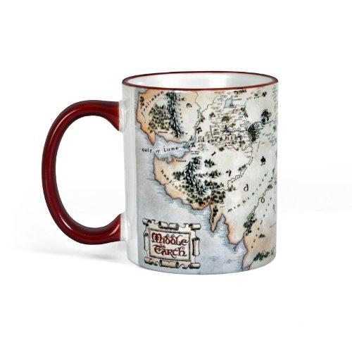 Mittelerde Tasse aus Herr der Ringe und Hobbit Film mit Landkarte Elbenwald Keramik 300ml