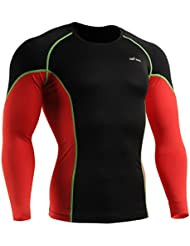 emFraa Homme Femme MMA Sport Compression Black Tight Base layer T-Shirt Long sleeve S~XXL