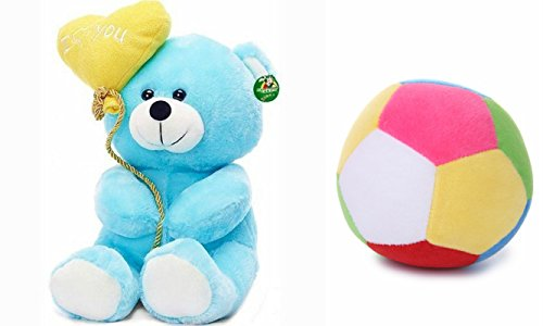 Deals India I Love You Balloon Heart Teddy Blue 20 cm and Medium Ball(20 cm) combo  available at amazon for Rs.199