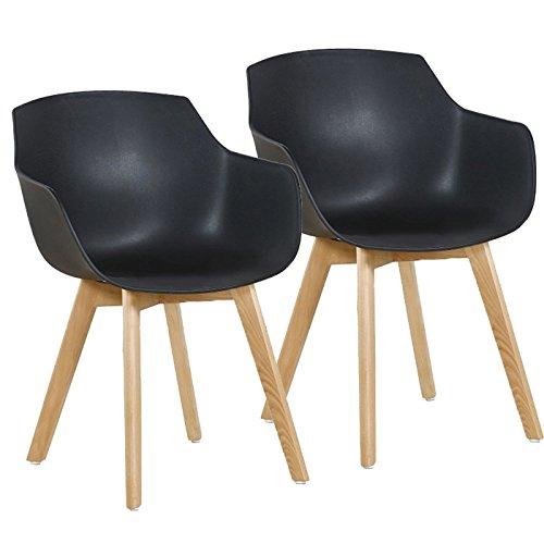 H.J WeDoo Lot de 2 Chaise Salle à Manger, Fauteuils Scandinave de Chaise latérale Design rétro avec Jambe de Bois de hêtre Massif - Noir