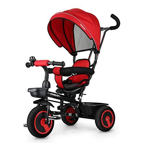 Fascol Dreirad 6 in 1 Kinderdreirad Kinder Fahrrad Baby Kleinkinder mit Lenkbarer Schubstange, mit FlüSterleise Gummireifen und Sonnendach für Jungen und Mädchen ab 12 Monate -5 Jahre (Rot)