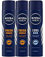 Nivea Men Power Charge Deodorant, 150ml (Pack of 2) and Men Cool Kick Deodorant, 150ml