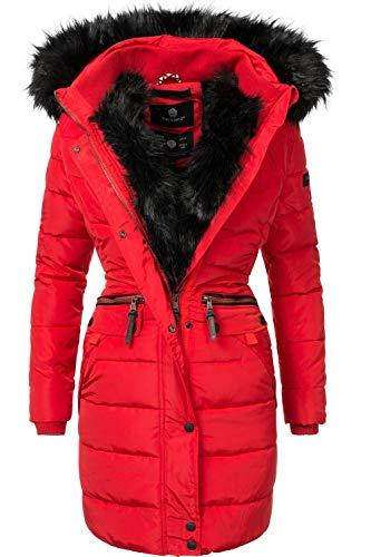 Fell Kapuzen Mantel (Navahoo Damen Winter Mantel Steppmantel Paula (vegan hergestellt) Rot Gr. S)