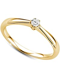Orovi Women Solitaire Engagement Ring 9 ct/375 Yellow Gold With Brilliant Cut Diamond 0.09 ct