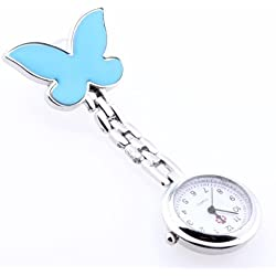 Gleader Blue Bowknot Quartz Movement Clip Nurse Brooch Fob Tunic Pendant Watch