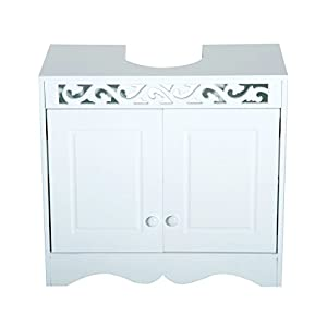 HOMCOM Armario de Baño Tipo Mueble Bajo para Lavabo con 2 Puertas y Estantes 60x30x56cm Diseño Moderno de Madera Blanca