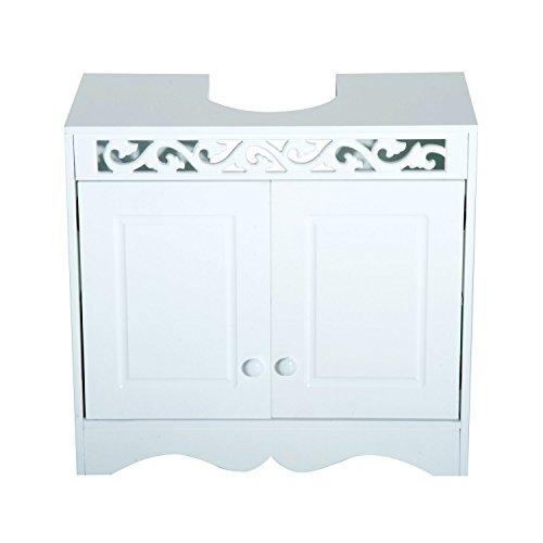 HomCom Armario de Baño Bajo para Lavabo con 2 Puertas y Estantes - Blanco - 60x30x56cm