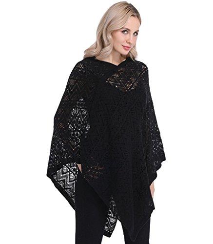Lvrao elegante poncho e mantelle da donna, blusa poncho in maglia con orlo a frange, scollo a v (nero, taglia unica)