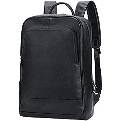 Leathario Mochila Tipo Caual Escolar Hombre Cuero Autentico Negro de Mano Backpack Laptop para Portátiles y Netbooks