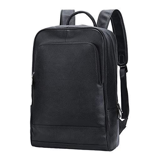 Leathario Mochila Tipo Caual Escolar Hombre Cuero Autentico Negro de Mano Backpack Laptop para...