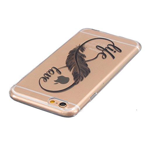 iPhone 6s Custodia,SainCat Neo Disegno Slim Sottile Brushed Flexible Trasparente Crystal TPU Gel Silicone Bling Cristallo Chiaro Cover Case Bumper,Ultra Magro Morbido Anti-graffi Protettiva Shell Cust Carattere Piume