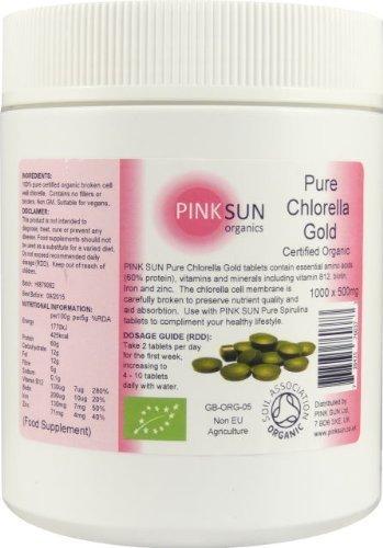 Organic Chlorella Tablets 1000 x 500mg Tabs 500g Broken Cell Wall Chlorella Pyrenoidosa Certified Organic by the Soil Association - PINK SUN by PINK SUN Ltd