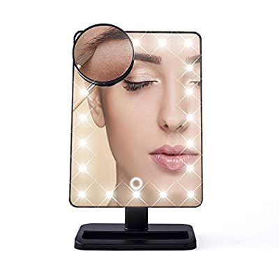 "Comwinn Next Generation Makeup Mirror with Lights, 20 Bright LEDs, 12"" Large Screen, Touch Dimmable with Memory Function, Removable 10 x Magnification Spot, 360 Degree Free Rotation, Lighted Illuminated Vanity Cosmetic Mirrors with Stand and Storage Tray"