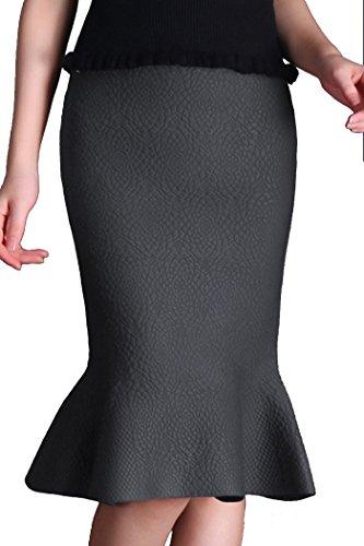 Helan Donna colore puro Bodycone media lunghezza Knitting Fishtail Gonna Grigio