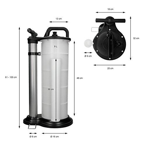 ECD Germany Pompe d'aspiration huile Pompe à vidange huile Pompe de transvasement de liquides Dispositif Purgeur de frein 9 Litres Liste de prix