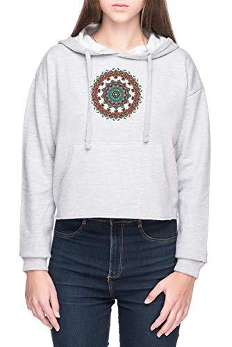 Mandala Navidad Doguillo Mujer Sudadera con Capucha de Crop Gris Women's Crop Hoodie Sweatshirt Grey