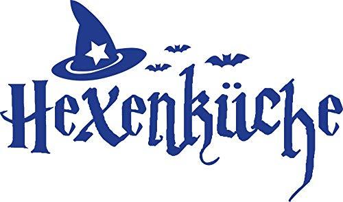 lder Hexenküche - Besonderes Geschenk Beste Freundin Wandtattoo Schönes Motiv Hexenhut - Wandtattoo für Küche Halloween / 68x40cm / 086 brillantblau ()