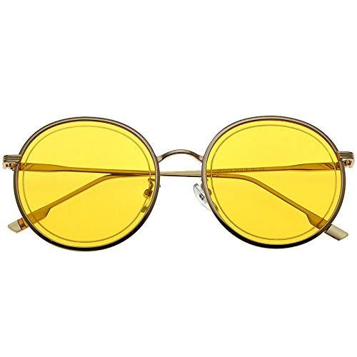 fuqiuwei Sonnenbrillen Braune Sonnenbrille-Rosagläser des Runden Gesichtes Der Vintagen Rahmensonnenbrille Weiblichen