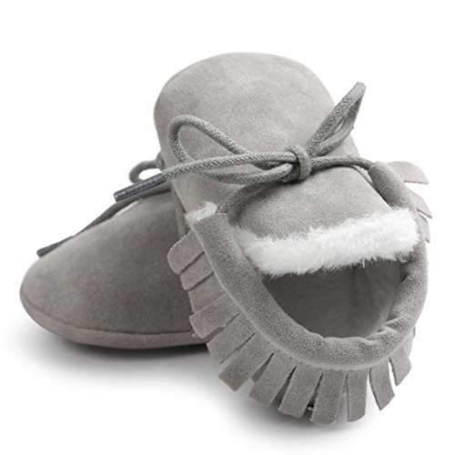 kingko® bébé fille douce Sole Bottes de neige molle Crib Chaussures Bottes tout-petits (11, Brun) gris