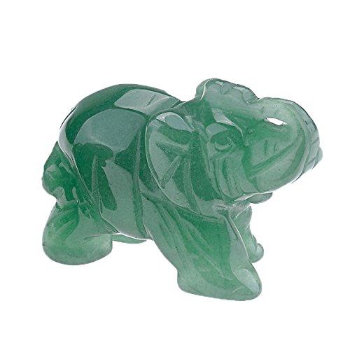 QGEM Dekoration Healing geschnitzte Elefanten Tier Figur Statue Ornament Edelstein Kristall Reiki Energietherapie yoga mit Geschenk-Box 50mm/Aventurin