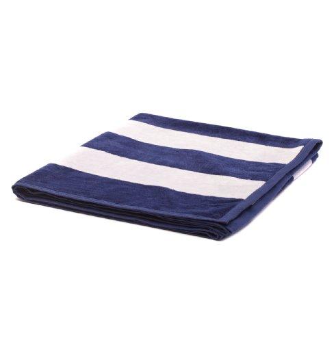 """URBANARA Strandtuch/Duschtuch """"Serena"""" - 100% reine Baumwolle, Frottee-Velour, Weiß/Blau mit breiten Querstreifen - 100 x 180 cm"""