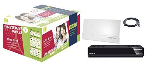 Telestar digiHD TT5 IR DVB-T2 HD freenetTV Einsteigerpaket Receiver+Antenne+HDMI Kabel (digiHD TT 5IR, Antenna 9 LTE weiss, 1,5m HDMI Kabel, H.265/HEVC, inkl. 3 Monate Guthaben, HDMI, AV-Ausgang, USB, LAN) schwarz