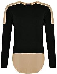 Baleza Women Ladies Plain Long Sleeve Contrast Double Colour Two Tone Top