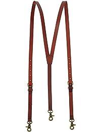 Lawevan Tirantes Hombre Estilo Steampunk - Cuero Genuino de Color Rojizo Marrón Brillante - 3 Ganchos de Presión - Ideal para Vestir Casual, Elegante y Formal