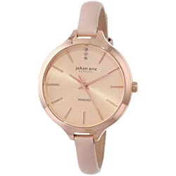 """Johan Eric Women's JE2100-09-001.9 """"Herlev"""" Stainless Steel Watch with Diamonds and Leather Band"""