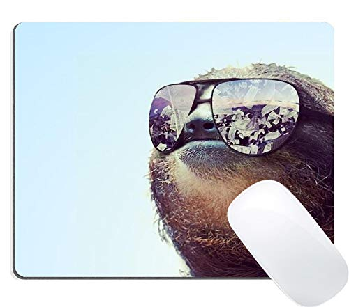 Muccum Hipster Faultier mit Sonnenbrille, Gaming-Mauspad mit rutschfester Gummirückseite