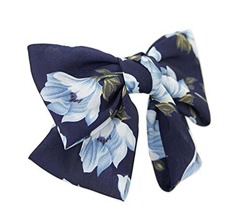 [Jonquilles Marine] Clip élégant en mousseline de soie Bow Barrette cheveux