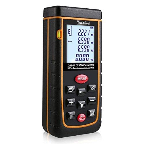 Tacklife Professional A-LDM01 40 Laser-Entfernungsmesser Distanzmessgerät (Messbreich 0,05~40m/±2mm mit LCD Hintergrundbeleuchtung, Staub- und Spritzwasserschutz IP 54) inkl.Batterie und Schutztasche