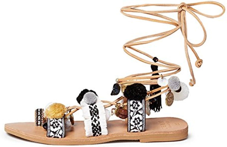 Feifei Zapatillas de Corbata de Moda de Verano de Material Plano de Calidad Superior de Zapatos de Mujer (Tamaño...
