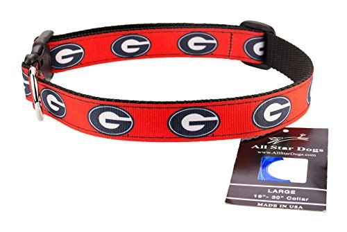 All Star Dogs Georgia Bulldogs Band Hundehalsband, Med 1in w - Fits 12in-20in, Rot -
