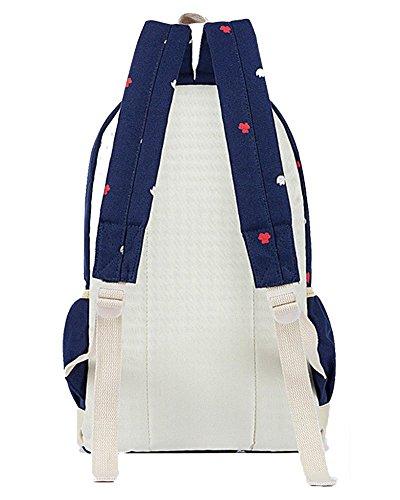 YiLianDa Damen Canvas Schule Rucksack Universität Rucksack Schultasche Schultertasche Geldbeutel für Mädchen Dunkel Blau