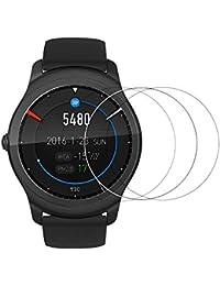 Logity ticwatch 2Displayschutzfolie [gehärtetem Glas] mit einzigartige [oleophobe Beschichtung Technologie] und [Scratch Resist], 9H Härte und Bubble Free Installation–3Pack
