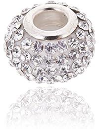 Encanto de cristal austriaco Blanco. Abalorios. Plata esterlina. para adaptarse a Pandora y Otros pulseras europeas 3mm.