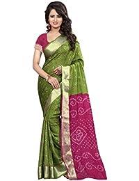 M&M WORLD Women's Green & Pink Cotton Silk Bandhej Bandhani Saree
