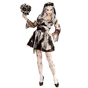 WIDMANN 05653 - vestido de diablo para adultos traje de novia, guantes sin dedos, tocados con la rosa y velo, L, marrón