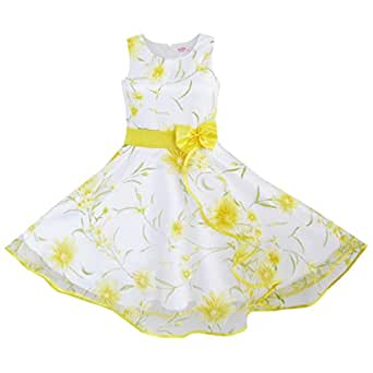 DB81 3 Layers Girls Dress Sunflower Wave Pageant Bridesmaid Age 4-5 Years