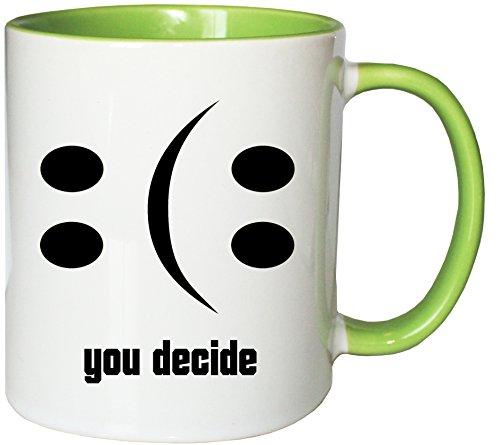 Mister Merchandise Kaffeebecher Tasse Happy or Sad Smiley Smilie Smile Glas leer halb voll halbvoll Teetasse Becher Weiß-Grün