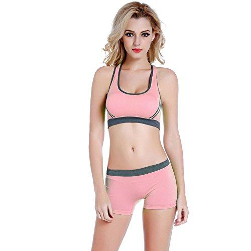 amaz Mall Femme Push Up Soutien-gorge de sport Course Yoga sans couture Soutien-gorge unterw? de Sport Fitness Workout Short Set rose bonbon