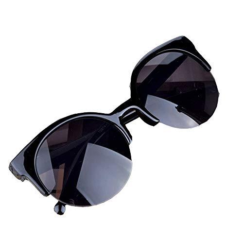 Wangwen Mode Vintage Sonnenbrille Cat Eye Semi-Rim Runde Sonnenbrille Für Männer Frauen Sonnenbrille (Color : Black)