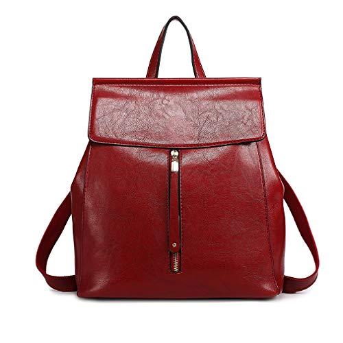 Miss Lulu Classico Pelle sintetica Zaino per donna Fashion Daypack per ragazza Zip Borse a tracolla (Borgogna)