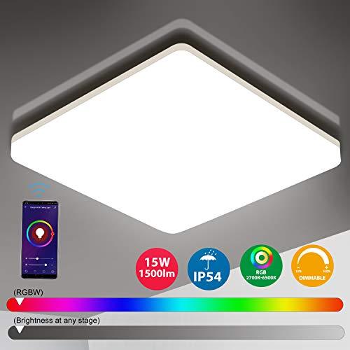 Oeegoo Wifi LED Deckenleuchte Dimmbar, Smart LED Deckenlampe RGB Farbwechsel, LED Dekcenleuhte Alexa, Google Home kompatibel, App- / Sprachsteuerung, IP54 wasserdichte Badlampe Wohnzimmerlampe