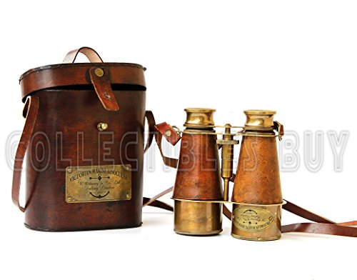 Jumelles de style victorien en laiton en cuir marine Sailor Instrument Londres 1915