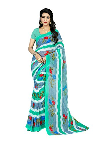 Jaanvi Fashion Women's Chiffon Floral Printed Saree (Blue)  available at amazon for Rs.499